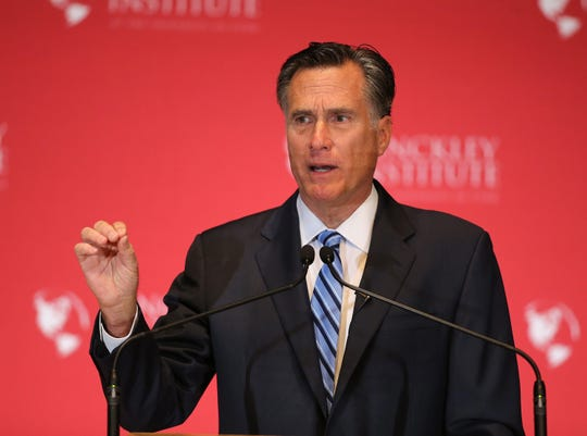 Mitt Romney denounces Donald Trump in March 2016 in Salt Lake City.