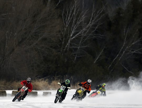 Riders take a turn at the Manawa Snodeo event in 2018.