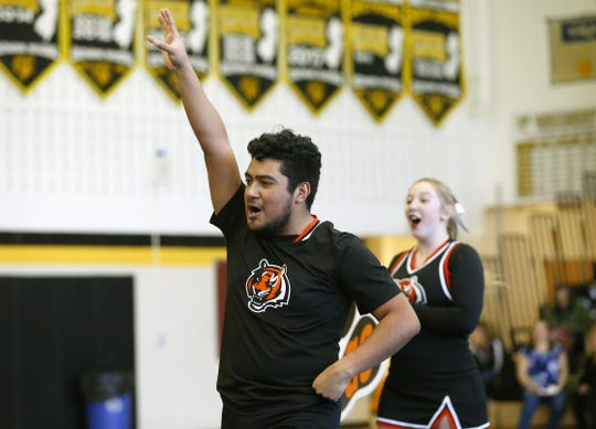 Luis Pedraza cheers for Barnegat during the Rams Invitational at Southern Regional High School, Sunday, January 26, 2020. Manahawkin,NJ.  Noah K. Murray-Correspondent/Asbury Park Press
