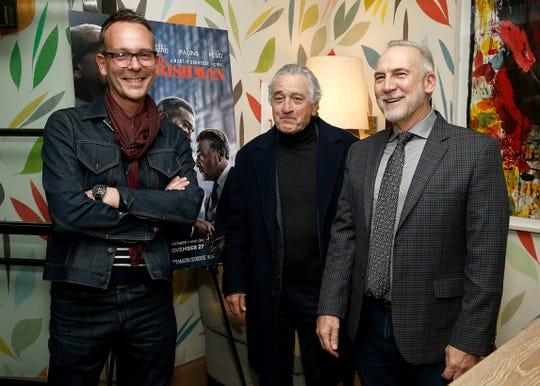 "Costume designer Christopher Peterson, star Robert De Niro and production designer Bob Shaw at ""The Irishman"" New York  tastemaker event at the Whitby Hotel on Nov. 19, 2019 in New York City."