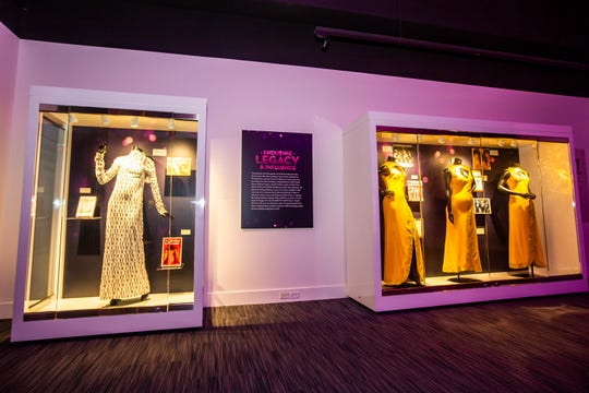 Some of the gowns on display at Legends Of Motown: Celebrating The Supremes at the Grammy Museum Experience in Newark.
