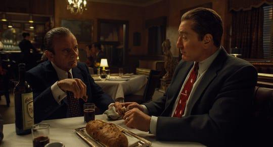 "Russell Bufalino, played by Oscar-nominated Newark native Joe Pesci, left, and Frank Sheeran, played by Robert De Niro, in Martin Scorsese's ""The Irishman."""