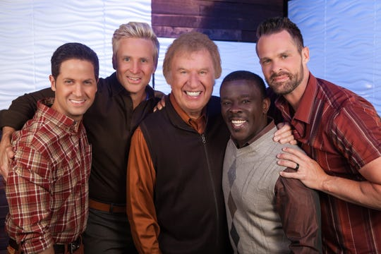From left, Wes Hampton, Reggie Smith, Bill Gaither, Todd Suttles and Adam Crabb are the Gaither Vocal Band.