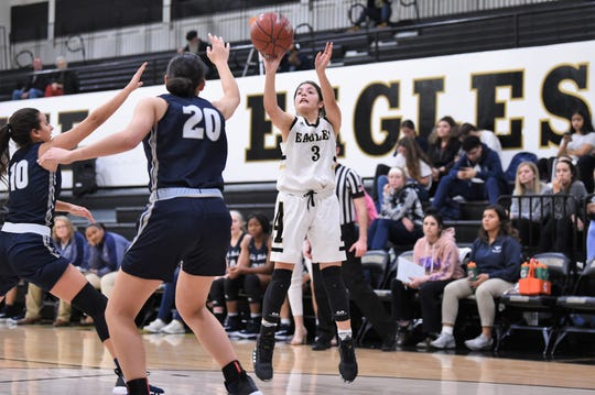 Abilene High's Leila Musquiz (3) takes a shot against North Richland Hills Richland on Tuesday. The game slipped away from the Lady Eagles in the third quarter of their 49-32 loss.