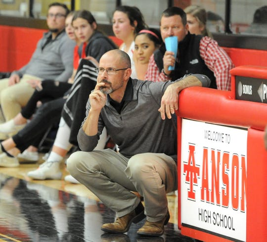 Anson coach Ryan Dollar looks on during a game against Colorado City on Jan. 28. Dollar is the head coach of the boys and girls basketball teams.