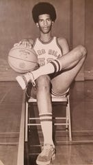 Black Mountain Alderman Carlos L. Showers as a college basketball player at Mars Hill.