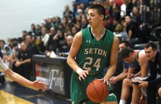 Brett Rumpel (24) of Seton Catholic Central during Chenango Forks vs. Seton Catholic Central, boys basketball, Tuesday, January 28, 2020.