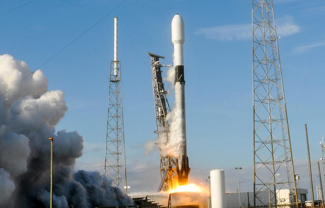 A SpaceX Falcon 9 rocket lifts off from Launch Complex 40 at Cape Canaveral Air Force Station on Wednesday, Jan 29, 2020. The rocket carried 60 Starlink satellites to low-Earth orbit.