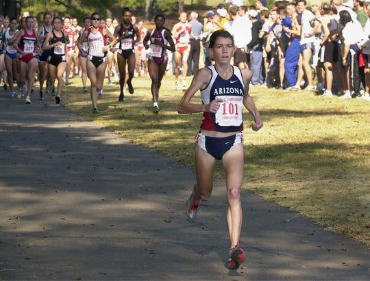 Arizona's Tara Chaplin leads the pack midway in the  2001 NCAA Women's Cross Country Championship race at Furman University.