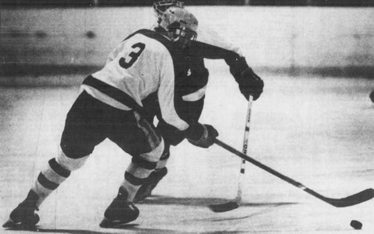 BFA-St. Albans' Toby Ducolon (3) skates during a high school game in 1984. He later went on to play at the University of Vermont and has coached the Bobwhites since 1990.