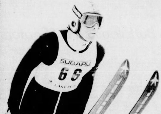Jeff Hastings is seen in mid-air en route to winning a World Cup ski jump event at Lake Placid in December 1983.