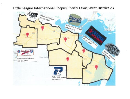 A map of the Corpus Christi area Little Leagues with phone numbers.