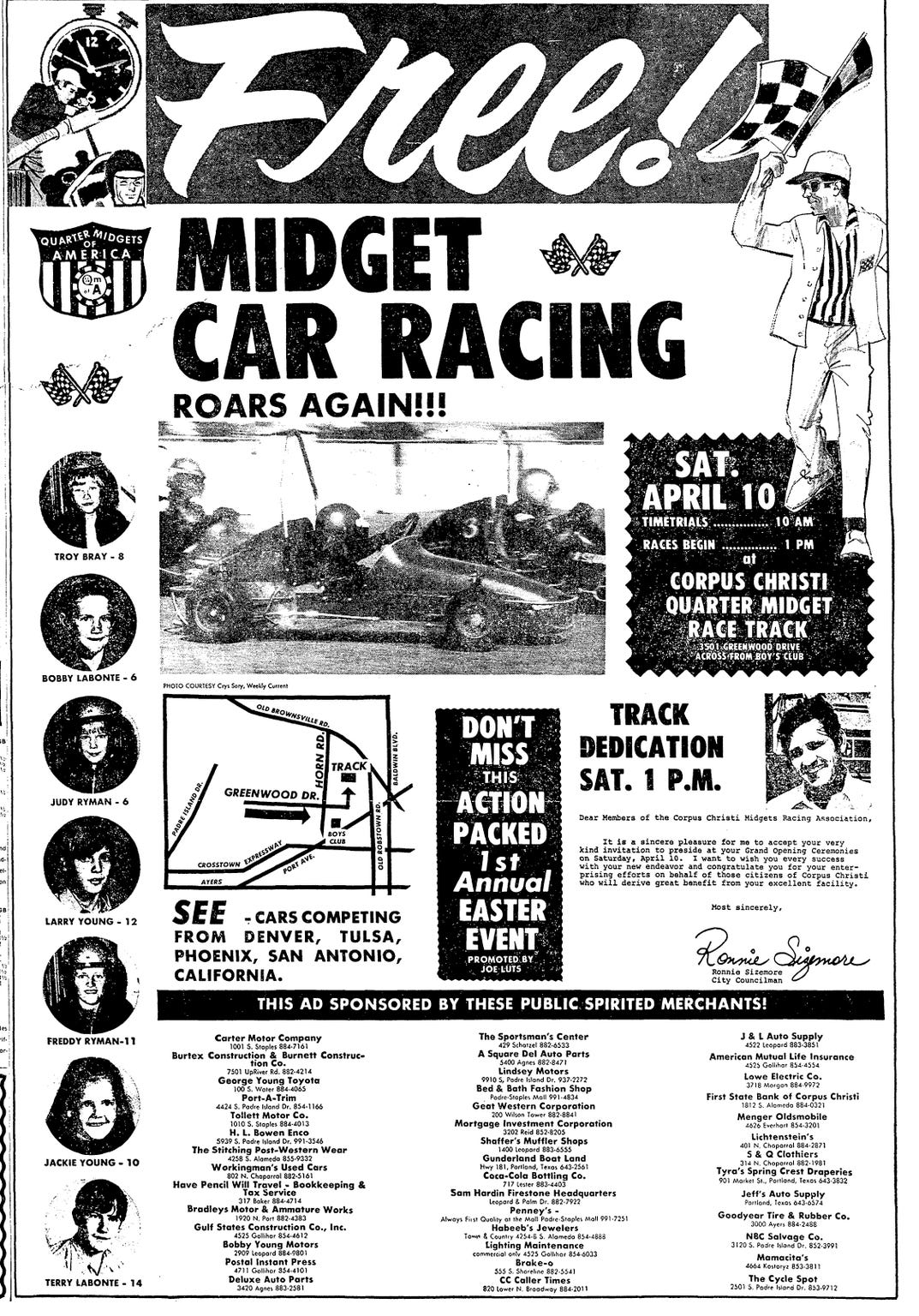 An ad in the April 9, 1971 Corpus Christi Times for the dedication of the Corpus Christi Quarter Midget Race Track featured photos of Bobby Labonte, 6, and Terry Labonte, 14.