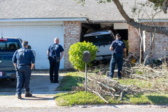 An SUV slammed into a home in Flour Bluff on Wednesday, Jan. 29, 2020.