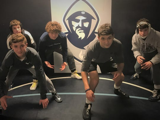 Back row (left to right): Jake Slotnick, Dennis Virelli and Brock Zurawski; front row: Kaden Naame and Richie Gruno. St. Augustine's five freshmen are making a big impact this season.
