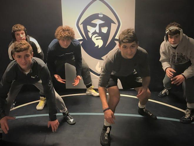 Back row (left to right): Jake Slotnick, Dennis Virelli and Brock Zurawski; front row: Kaden Naame and Richie Gruno. St. Augustine's five freshmen are making a big impact this season.