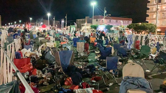 U.S. Secret Service prohibited certain items - food, drinks, chairs and blankets - from entering the Wildwoods Convention Center for President Donald J. Trump's campaign rally Tuesday, Jan. 28, 2020. When the rally was over, items were left behind in queues.