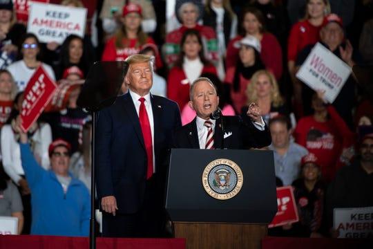 Jeff Van Drew speaks alongside President Trump during a rally Tuesday, Jan. 28, 2020 in Wildwood, N.J.