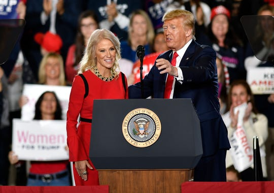 Kellyanne Conway speaks to the audience during a rally that President Donald Trump hosted at the Wildwood Convention Center,  Tuesday, Jan. 28, 2020.