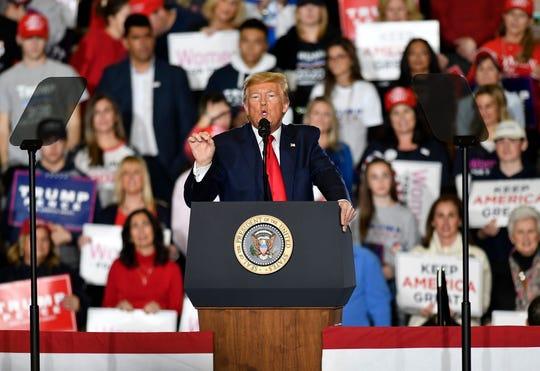 President Trump speaks during a rally Tuesday, Jan. 28, 2020 in Wildwood, N.J.