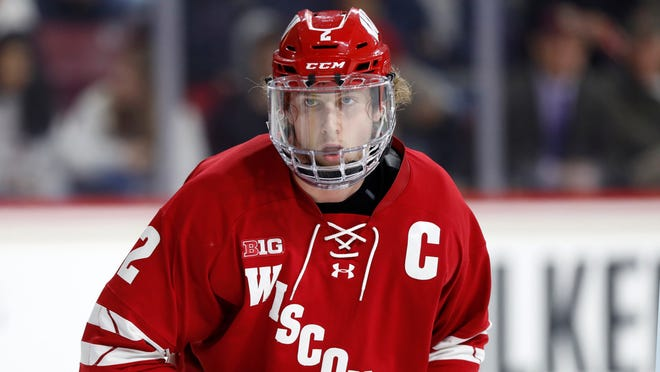 Wyatt Kalynuk, a junior at Wisconsin, is this year's team captain. The 2017 Flyers seventh-round draft pick is one of the best power play quarterbacks in NCAA hockey.