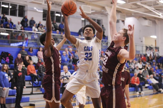 Chillicothe's Jayvon Maughmer goes up for a layup during a game against Canal Winchester on Tuesday Jan. 28, 2020 at Chillicothe High School in Chillicothe, Ohio.