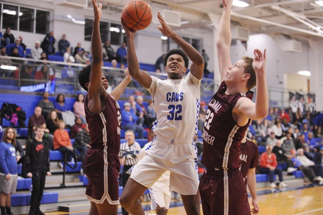 Chillicothe's Jayvon Maughmer takes the ball to the rim during a 58-54 loss to Canal Winchester on Tuesday Jan. 28, 2020 at Chillicothe High School in Chillicothe, Ohio.