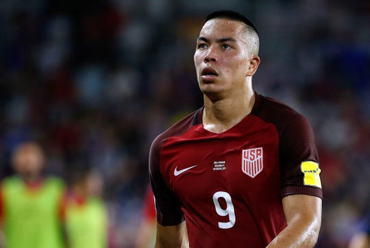 Oct 6, 2017: USA forward Bobby Wood (9) during the second half at Orlando City Stadium.