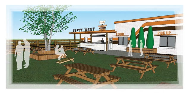 Renderings of Fifty West Brewing Company's New Burger and Beer Garden.