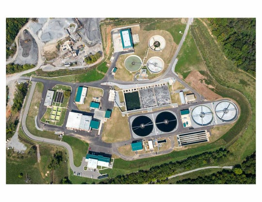 The Clarksville Wastewater Treatment Plant, seen from an aerial photo.