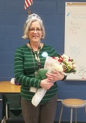 Dr. Donna Badgwell, an instructor of biomedical sciences with Hunterdon County Vocational School District's Biomedical Sciences Academy, is surprised with the news that she is the district's Educator of the Year.