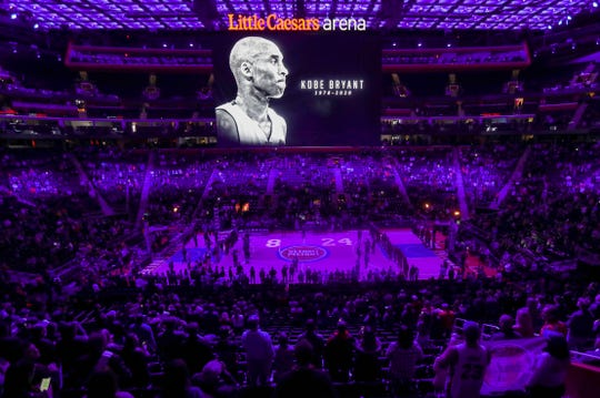 The Detroit Pistons held a moment of silence for Los Angeles Lakers great Kobe Bryant before the start of their game against the Cleveland Cavaliers Monday, January 27, 2020 at Little Caesars Arena in Detroit, Mich.