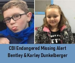 Missing children Bentley and Karley Dunkelberger, ages 7 and 9.