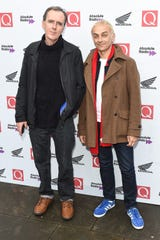Underworld's Rick Smith (left) and Karl Hyde attend the 2018 Q Awards held at the Roundhouse on Oct. 17, 2018, in London, England.