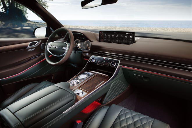 Interior of Genesis GV80 SUV.
