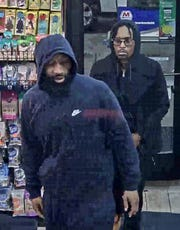 Police say three men, including the two pictured, are wanted for their alleged role in a triple shooting early Sunday morning on Detroit's west side.