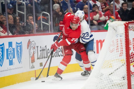 Red Wings forward Andreas Athanasiou is a minus-35 in 36 games played this season.