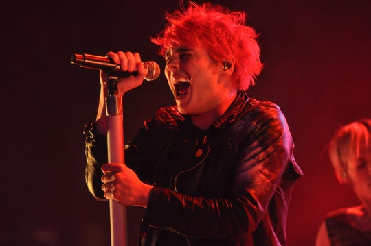 My Chemical Romance's Gerard Way performs at DTE Energy Music Theatre on Sept. 11, 2011.