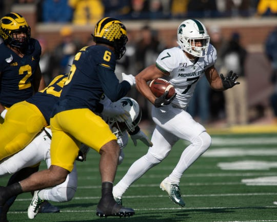 Michigan State wide receiver Cody White had 36 catches for xxx yards over his last five games in 2019.