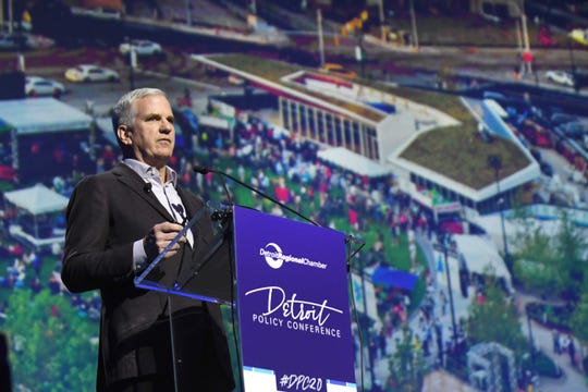 Matt Cullen, Chairman, Detroit Riverfront Conservancy and Chief Executive Officer, Bedrock Detroit, speaks at the 2020 Detroit Policy Conference held at Motor City Casino with the backdrop of Detroit's Beacon Park.