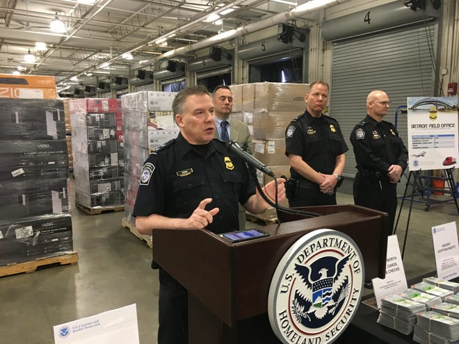 Christopher Perry, director of the U.S. Customs and Border Protection's Detroit Field Office, announces 2019 seizures at Michigan's borders