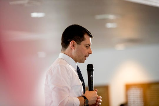 Democratic presidential candidate former South Bend, Ind., Mayor Pete Buttigieg speaks at a town hall at the Clarke County Fairgrounds Event Center, Tuesday, Jan. 28, 2020, in Osceola, Iowa.