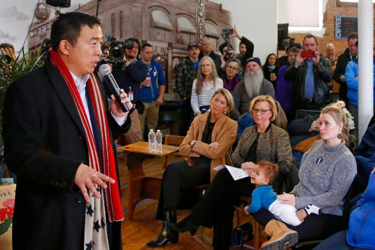 Democratic presidential candidate entrepreneur Andrew Yang speaks at a town hall meeting Tuesday, Jan. 28, 2020, in Perry, Iowa.