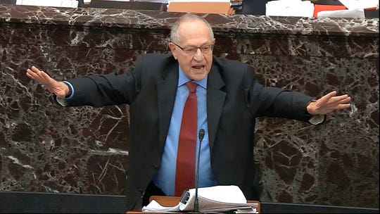 In this image from video, Alan Dershowitz, an attorney for President Donald Trump answers a question during the impeachment trial against Trump Wednesday, Jan. 29, 2020.