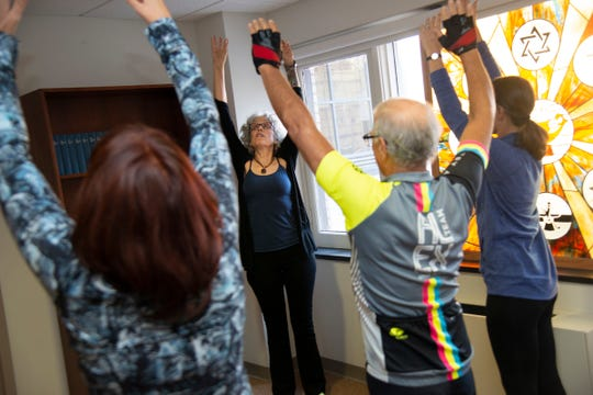 Dr. Ruth Lerman, center, leads an exercise during a mindfulness class.