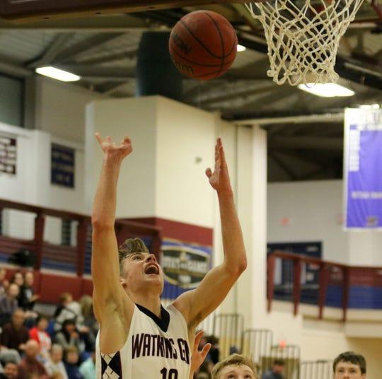 Max Evans of Watkins Glen puts up a layup in an 80-36 win over Odessa-Montour in boys basketball Jan. 28, 2020 at Watkins Glen High School.