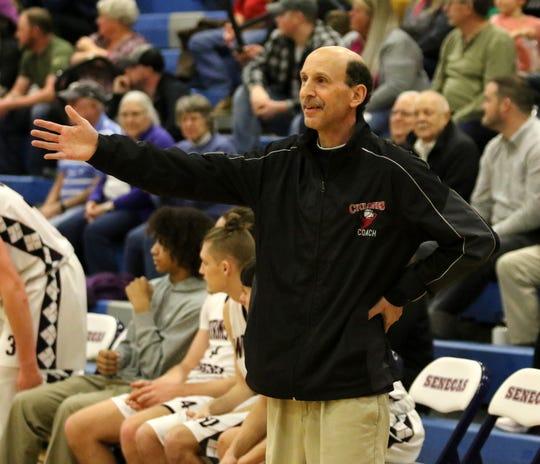 Watkins Glen head coach John Fazzary leads his team during an 80-36 win over Odessa-Montour in boys basketball Jan. 28, 2020 at Watkins Glen High School.