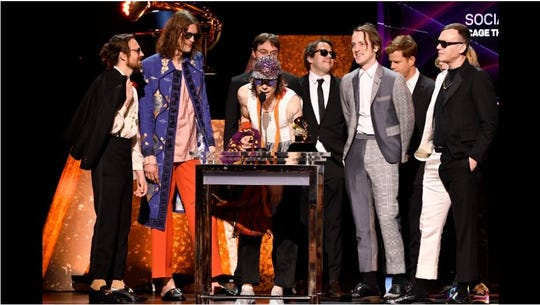 Cage The Elephant accept the award for best rock album for Social Cues during the 62nd annual GRAMMY Awards Premiere Ceremony
