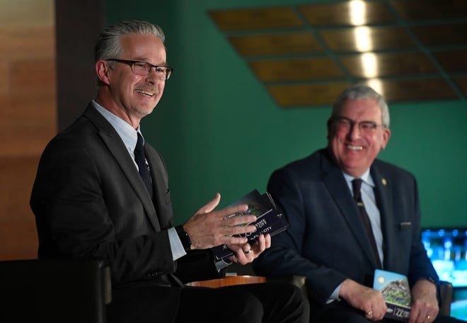 Fort Collins city manager Darin Atteberry laughs during the State of the City address in the Hall of Champions at Canvas Stadium at Colorado State University in Fort Collins, Colo. on Tuesday, January 28, 2020.
