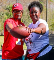 Sammy Watkins, wide receiver for the Kansas City Chiefs, has very proud parents, James McMiller, his stepfather, and Nicole McMiller, his mother. They will head over to Miami to watch Sammy in the Super Bowl on Sunday.